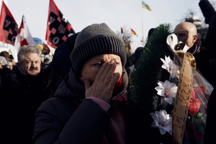 Ukraine Protests - Body of martyr Mikhail Zhivnevsky paraded thr