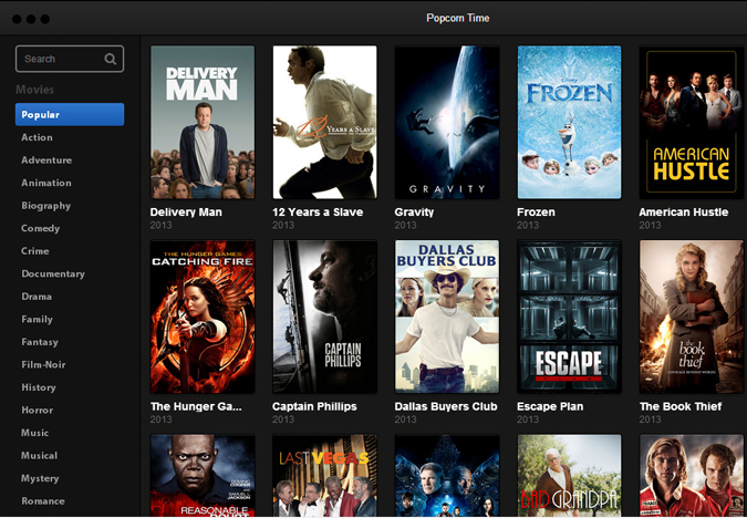 Popcorn time interface