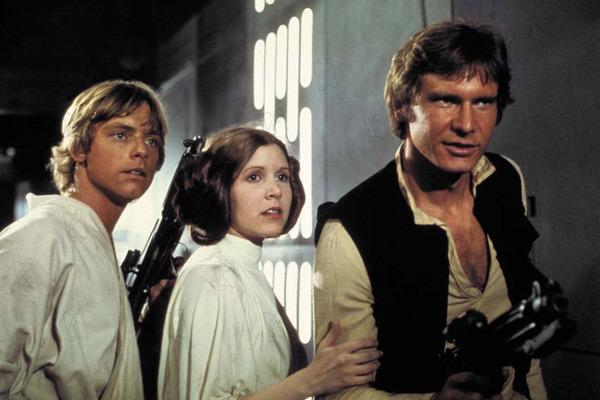 Harrison Ford, Mark Hamill et Carrie Fisher dans Star Wars VII