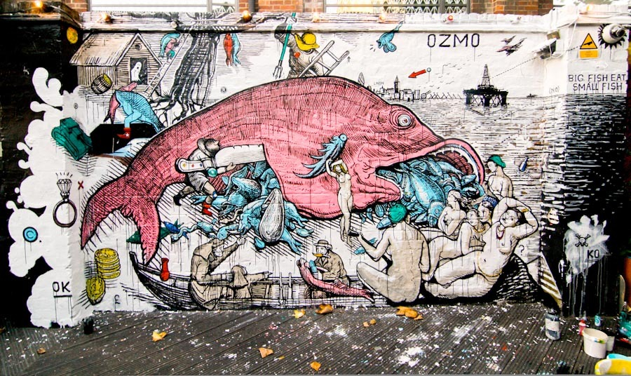 ozmo street art poisson fish